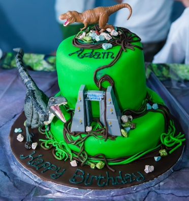 "the Jurassic birthday cake with his favourite dinosaur ""Blue"""